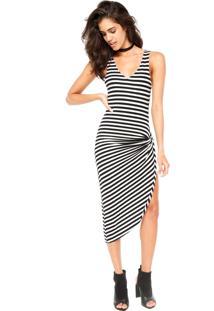 Vestido Calvin Klein Listras Branco/ Preto