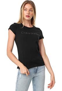 Camiseta Calvin Klein Bordada Leather Preta