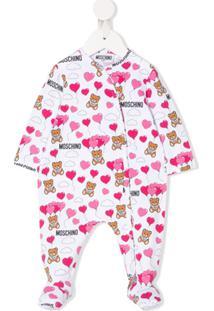 Moschino Kids Pijama Com Estampa De Urso E Logo - Branco