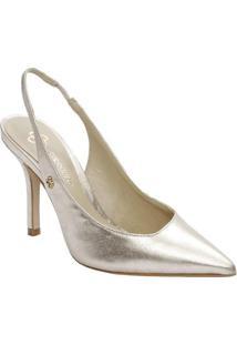 868c84fbf Sapato Chanel Em Couro Com Tag- Dourado- Salto: 10Cmcapodarte