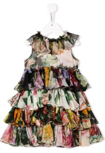 Dolce & Gabbana Kids Vestido Estampado Com Babado - Preto