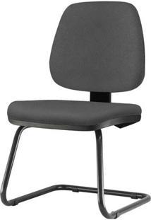 Cadeira Job Assento Courino Cinza Escuro Base Fixa Preta - 54564 - Sun House