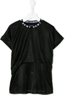 Dkny Kids Vestido Com Sobreposição - Preto