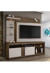 Estante Home Para Tv Até 55 Polegadas Brasil Candian Jcm Móveis Cacau/Off White