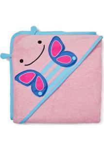 Toalha De Banho Infantil Skip Hop - Linha Zoo - Coleção Borboleta - Feminino-Rosa