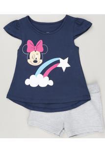 af33b44e5e Conjunto Infantil De Blusa Minnie Manga Curta Azul Marinho + Short Em  Moletom Cinza Mescla