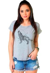 Camiseta Shop225 Lobo Geométrico Mescla