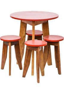 Conjunto Mesa E 4 Banquetas Coloridas Isadora Design Vermelho Tomate Seco