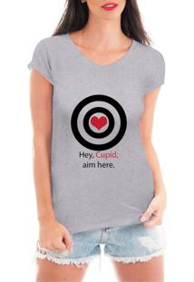 Camiseta Criativa Urbana Acerte Aqui Cupido Cinza - Tricae