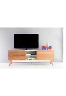 Rack Tv Vintage 1600 Mdf Branco 2 Portas De Madeira - 160X44X55 Cm