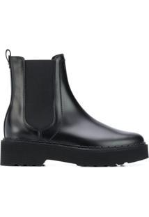 Tod'S Ankle Boot Com Logo Gravado - Preto