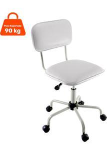 Cadeira De Escritório Secretária Giratória Color Pistão A Gás Corano Prata E Branco