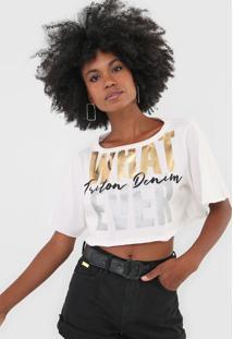 Camiseta Cropped Triton What Ever Off-White - Kanui