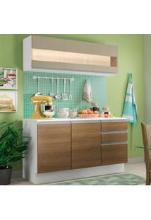 Cozinha Compacta 100% Mdf Madesa Smart 120 Cm Modulada Com Balcão E Tampo Branco