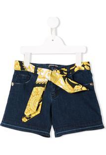 Young Versace Short Jeans Com Cinto - Azul