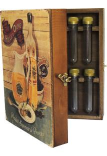 Porta Tempero Livro Vintage Concept Estampado Azeite