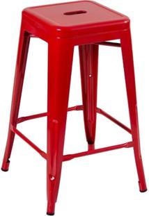 Banqueta Iron Tolix 66 Cm - Industrial - Aço - Vintage - Vermelho