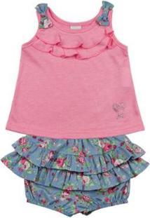Conjunto Bebê Malha Lumini E Tricoline Estampado Lacinhos Ano Zero Feminino - Feminino-Rosa