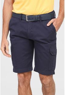 Bermuda Calvin Klein Jeans Cargo Bolsos Azul-Marinho