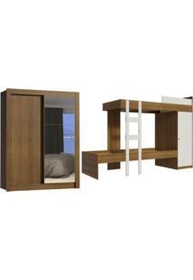 Kit Madesa Guarda-Roupa Infantil Dallas Plus Com 2 Portas De Correr Com Espelho + Beliche Larissa
