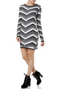 Vestido Curto Feminino Preto/Branco