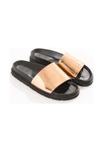 Sandalia Chinelo Metalizada Bege Blush 16-1422 Tcx - 34