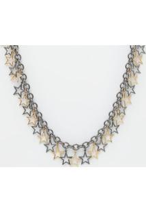 Colar Estrelas- Prateado & Dourado- 2X1,8X89Cmeva