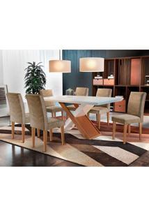Conjunto De Mesa De Jantar Imperatriz Com 6 Cadeiras Estofadas Grécia I Animalle Off White E Chocolate