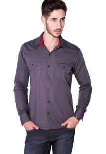 Camisa Slim Fit Tony Menswear 100% Algodão Cinza