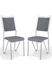 Kit 2 Cadeiras Londres Preto Cinza