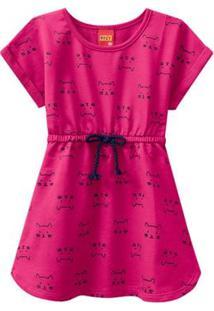 Vestido Infantil - 100% Algodão - Gatinhos - Rosa Choque - Kyly - 1