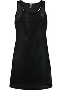 Moschino Sheer Logo Patch Dress - Preto