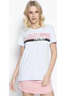 "Camiseta ""Colcci Trendy"" - Azul Claro & Preta - Colccolcci"