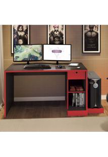 Mesa Para Computador Desk Gamer Drx 3000 Siena Móveis Preto/Vermelho