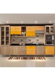Cozinha Compacta 9 Peças Com Tampo 5807-S4T - Sicília - Multimóveis - Argila / Amarelo