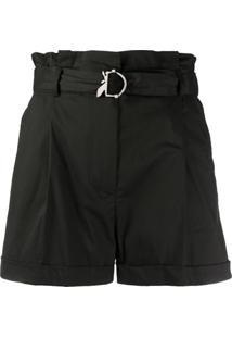 Patrizia Pepe Short Cintura Alta Com Cinto - Preto