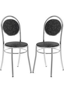 Cadeira 190 Cromada 02 Unidades Fantasia Preto Carraro