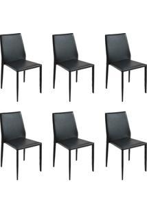 Kit 6 Cadeiras Decorativas Sala E Cozinha Karma Pvc Preta - Gran Belo - Preto - Dafiti