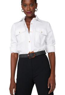 Amaro Feminino Camisa Tricoline Pesponto Contraste, Branco