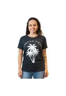 Camiseta Feminina Estampa Tropical Vibes - Preta Multicolorido