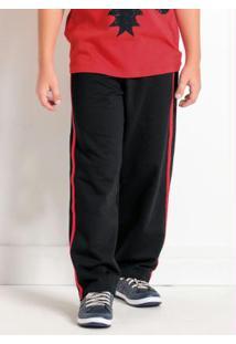 Calça Preta E Vermelha Infantil Menino