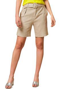 Shorts Mx Fashion De Linho Com Cinto Lane Cru