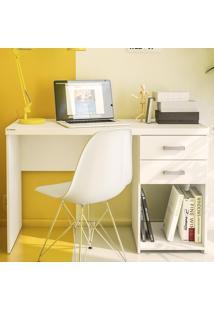 Mesa Para Computador 2 Gavetas Afrodite Branco Bp - Politorno