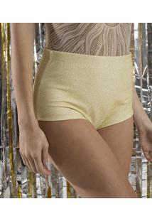 Short Hot Pants Com Fio Metalizado Dourado