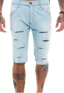 Bermuda Rich Young Jeans Destroyed Rasgada Azul Claro