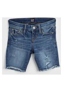 Bermuda Jeans Gap Infantil Destroyed Azul
