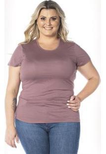 Camiseta Cora Básico Decote Redondo Modal Feminina - Feminino-Rosê
