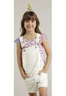 Jardineira Color Infantil Estampada Barra Desfiada Off White