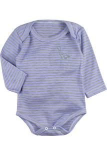 Body De Bebê Era Uma Vez Manga Longa Listrado Azul Com Bordadinho