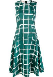 Marni Vestido Midi Xadrez - Verde